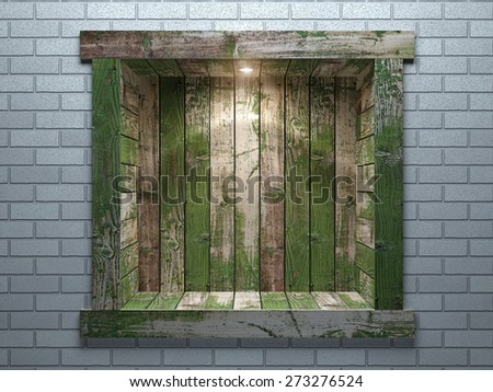 Niche in the brick wall of the old boards - stock photo