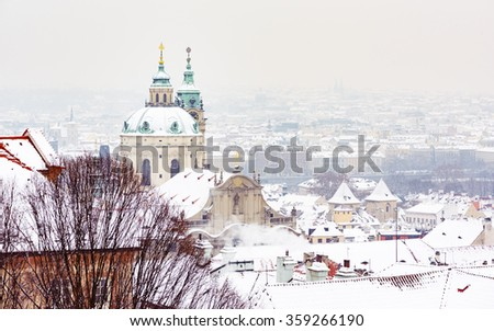 Nicholas Palace in Prague in Winter, View from Prague Castle - stock photo