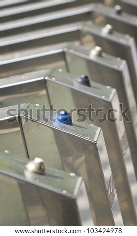 nickel-plated turnstile - stock photo