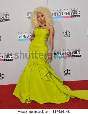 Nicki Minaj at the 40th Anniversary American Music Awards at the Nokia Theatre LA Live. November 18, 2012  Los Angeles, CA Picture: Paul Smith - stock photo