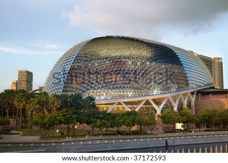 "Nicknamed ""Durian"" by Singaporeans because of its spikey twin domes.  Esplanade on the Bay is an international center for performance arts. - stock photo"