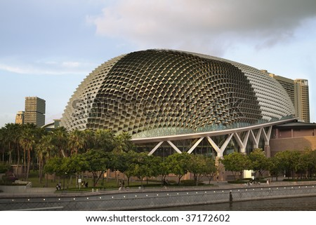 "Nicknamed ""Durian"" by Singaporeans because of its spikey twin domes.  Esplanade on the Bay is an international center for performance and visual arts. - stock photo"