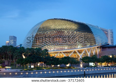 "Nicknamed ""Durian"" by Singaporeans because of its spikey twin domes.  Esplanade on the Bay is an international center for performance, visual arts."
