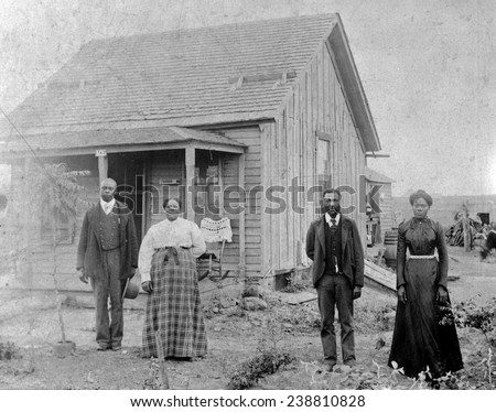 Nicodemus, Kansas. A colony of free African Americans. Homesteaders ca. 1880-1890s - stock photo