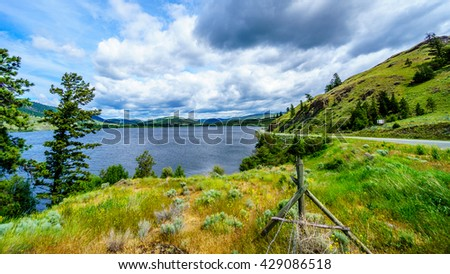 Nicola Lake along Highway 5A between Kamloops and Merritt in central British Columbia - stock photo