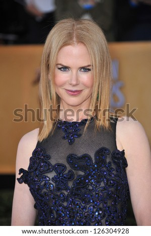 Nicole Kidman at the 19th Annual Screen Actors Guild Awards at the Shrine Auditorium, Los Angeles. January 27, 2013  Los Angeles, CA Picture: Paul Smith - stock photo