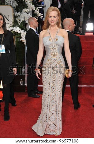 Nicole Kidman at the 69th Golden Globe Awards at the Beverly Hilton Hotel. January 15, 2012  Beverly Hills, CA Picture: Paul Smith / Featureflash - stock photo