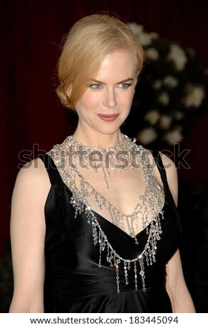 Nicole Kidman, in a L'Wren Scott necklace, at RED CARPET-80th Annual Academy Awards Oscars Ceremony, The Kodak Theatre, Los Angeles, February 24, 2008 - stock photo