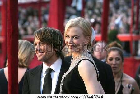 Nicole Kidman, Keith Urban at RED CARPET - 80th Annual Academy Awards Oscars Ceremony, The Kodak Theatre, Los Angeles, CA, February 24, 2008  - stock photo