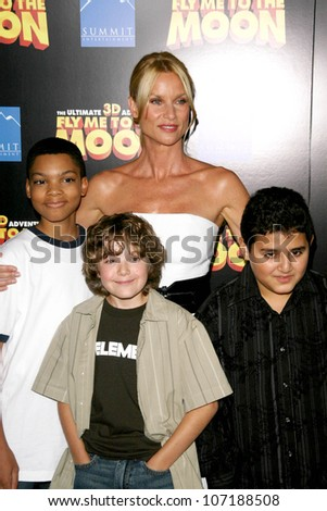 "Nicollette Sheridan and Philip Bolden with Trevor Gagnon and David Gore  at the Los Angeles Premiere of ""Fly Me To The Moon"". DGA, Hollywood, CA. 08-03-08"