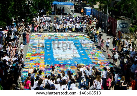 NICOSIA, CYPRUS - JUNE 01: Part of  the biggest painted puzzle in the world for a place in world Guinness records on June 01, 2013 in Nicosia, Cyprus