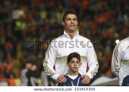 NICOSIA,CYPRUS -MARCH 27: Ronaldo of Real Madrid during the UEFA Champions League quarter-final match between APOEL and Real Madrid at GSP Stadium on March 27, 2012 in Nicosia, Cyprus. - stock photo