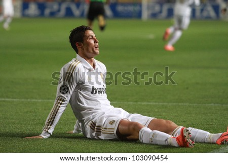 NICOSIA,CYPRUS,MARCH 27:Ronaldo of Real Madrid during the UEFA Champions League quarter-final match between APOEL and Real Madrid at GSP Stadium on March 27, 2012 in Nicosia, Cyprus. - stock photo