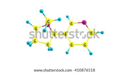 Nicotine is a potent parasympathomimetic alkaloid found in the nightshade family of plants and is a stimulant drug. 3d illustration.