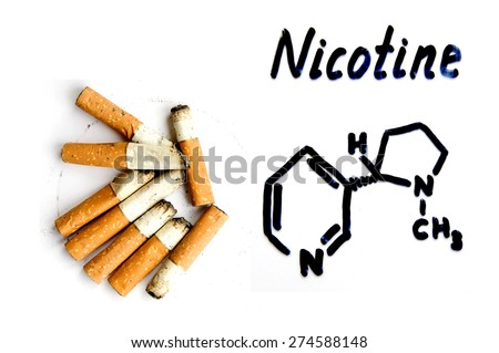 Nicotine, the chemical formula and butts - stock photo