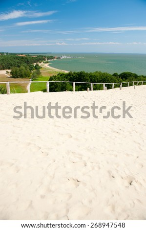 Nida - Curonian Spit and Curonian Lagoon, Nida, Klaipeda, Lithuania. Nida harbour. Baltic Dunes. Unesco heritage. - stock photo