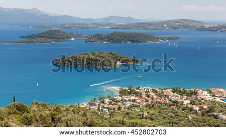 Nidri Town, marina and smaller Islands ,Lefkada Island, Greece