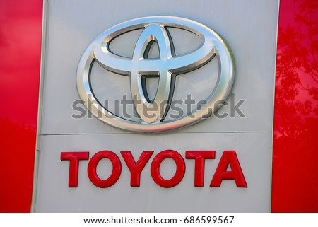 NIEDER-OLM,GERMANY-JULY 29:TOYOTA  autocentre  and logo on July 29,2017 in Nieder-olm,Germany.
