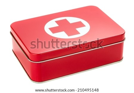 NIEDERSACHSEN, GERMANY AUGUST 10, 2014 - A metal first aid tin on a white background