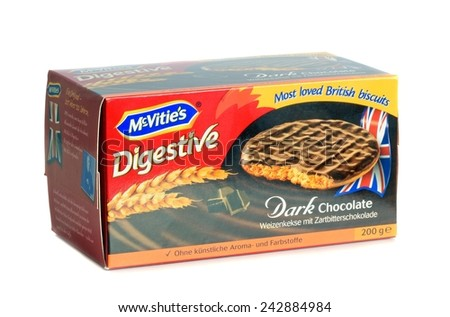 NIEDERSACHSEN, GERMANY JANUARY 10.01.2015: A box of McVities dark chocolate digestive biscuits in boxes for the German market on a white background  - stock photo