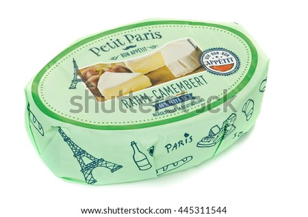 NIEDERSACHSEN, GERMANY JUNE 29, 2016: A packet of Petit Paris Camembert cheese for the German market on a white background