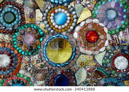Nielloware pieces rearranged as abstract background texture - stock photo