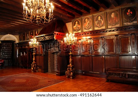 Nieswizh castle, Belarus, East Europe - July 29,2012: Beautiful photo of a stunning interior of a magnificent castle of Radziwill. World UNESCO heritage.
