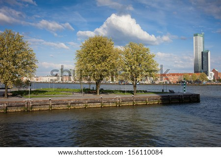 Nieuwe Maas (New Meuse) river waterfront in Rotterdam, Netherlands, South Holland province. - stock photo
