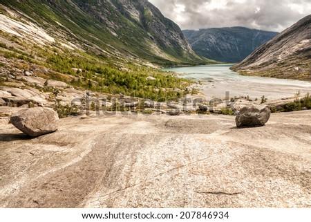 Nigardsbrevatnet at the Nigardsbreen Glacier. Norway - stock photo