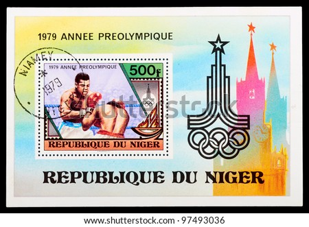 NIGER - CIRCA 1979: stamp printed by NIGER, shows boxing, series, circa 1979 - stock photo