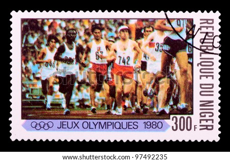 NIGER - CIRCA 1980: stamp printed by NIGER, shows runing, series Olympic Games in Moscow 1980, circa 1980 - stock photo