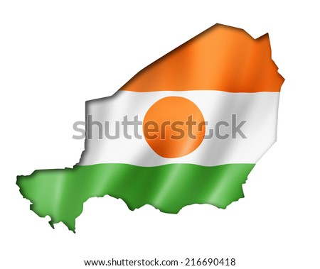 Niger flag map, three dimensional render, isolated on white - stock photo