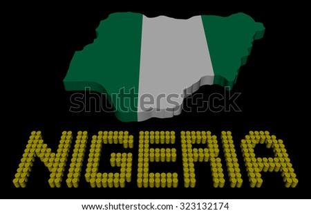Nigeria barrel text with map flag illustration - stock photo