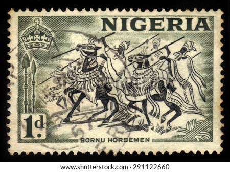 NIGERIA - CIRCA 1953: A stamp printed in Nigeria, shows bornu horseman, northeastern Nigeria, circa 1953 - stock photo