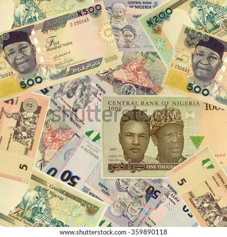 NIGERIA - CIRCA 2007:  Naira 2007, set - stock photo