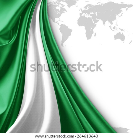 Nigeria flag and world map background - stock photo