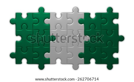 Nigeria flag assembled of puzzle pieces isolated on white background - stock photo