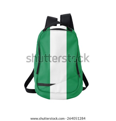 Nigeria flag backpack isolated on white background. Back to school concept. Education and study abroad. Travel and tourism in Nigeria - stock photo