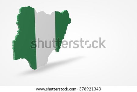 Nigeria Flag 3d Perspective View Isolated