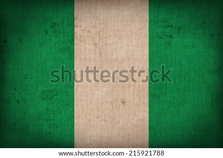 Nigeria flag pattern on the fabric  texture ,retro vintage style