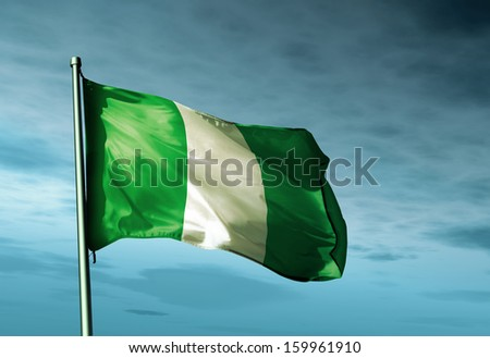 Nigeria flag waving on the wind - stock photo