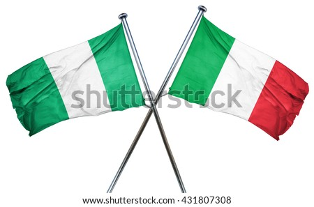 Nigeria flag with Italy flag, 3D rendering