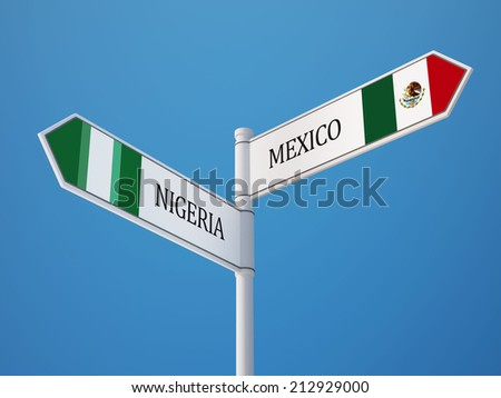 Nigeria  Mexico High Resolution Sign Flags Concept