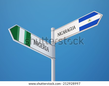Nigeria  Nicaragua High Resolution Sign Flags Concept