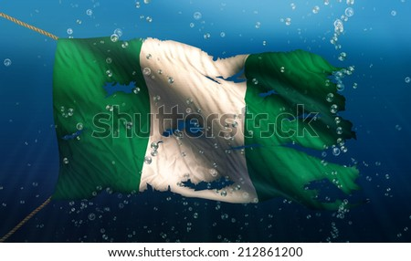 Nigeria Under Water Sea Flag National Torn Bubble 3D - stock photo
