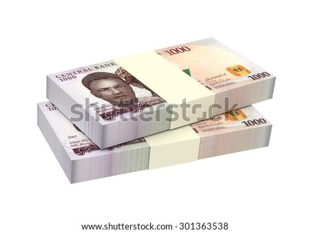Nigerian nairas isolated on white background. Computer generated 3D photo rendering. - stock photo