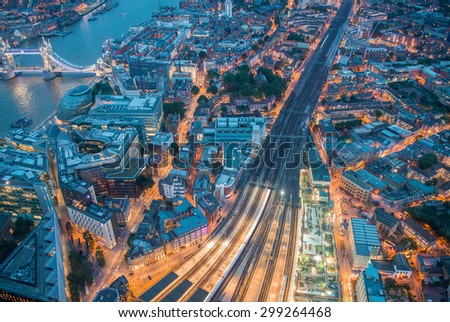 Night aerial view of London railway - stock photo