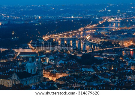 Night aerial view of Prague cityscape, Czech Republic. - stock photo
