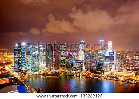 Night aerial view of Singapore downtown