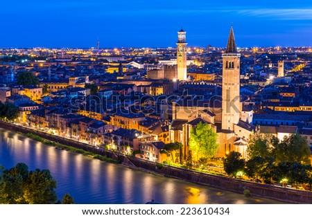 Night aerial view of Verona. Italy - stock photo